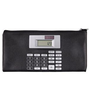 Black Document Bag w/ Solar Calculator Attachment