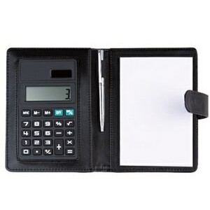 Leatherette Memo Pad with Solar Calculator and Pen