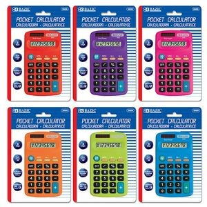 Bazic 8-Digit Dual Power Pocket Size Calculator (Case of 24)
